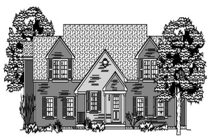 This is the front elevation to these Multi-Unit House Plans.