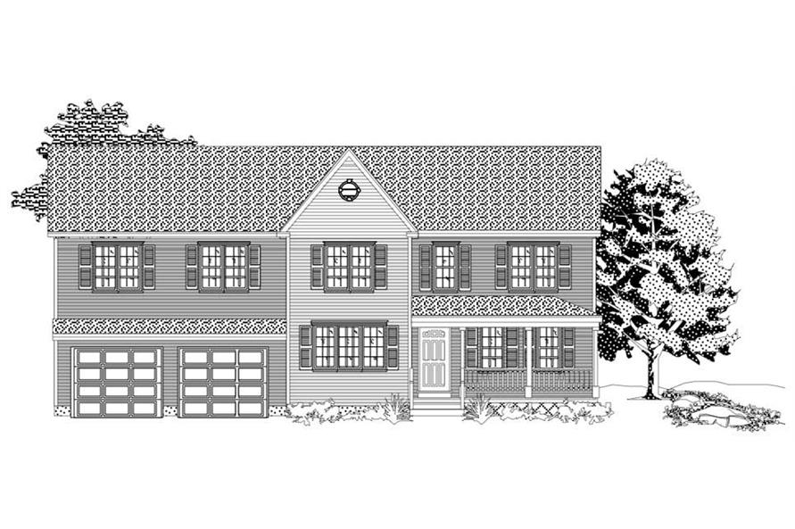 This is the front elevation of these Traditional Houseplans.