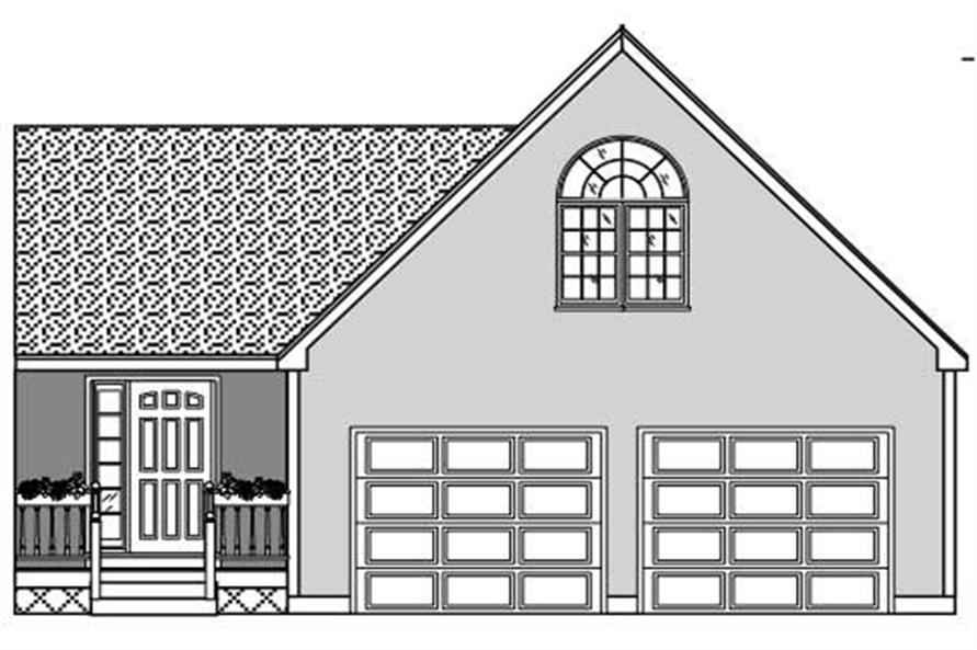 This is a black and white front elevation of these garage plans.