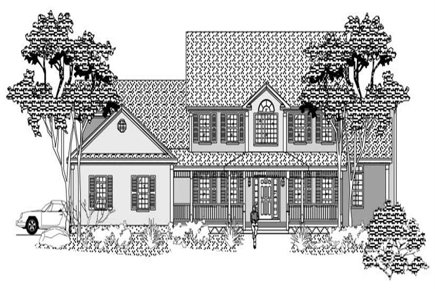 This is the front elevation of these Farmhouse Houseplans.