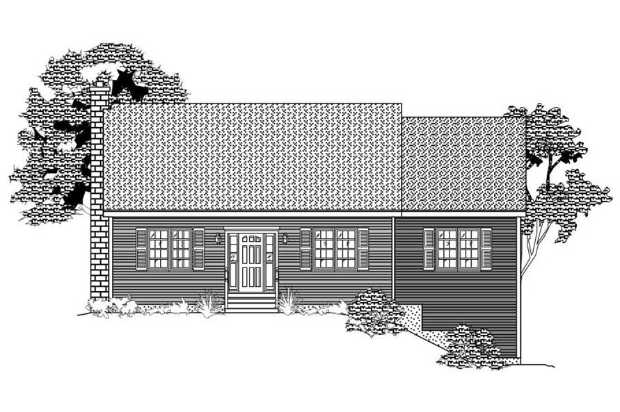 This image shows the front rendering of these Country House Plans.