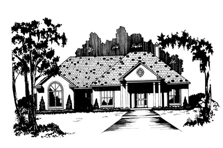 Front elevation of Ranch home (ThePlanCollection: House Plan #113-1021)