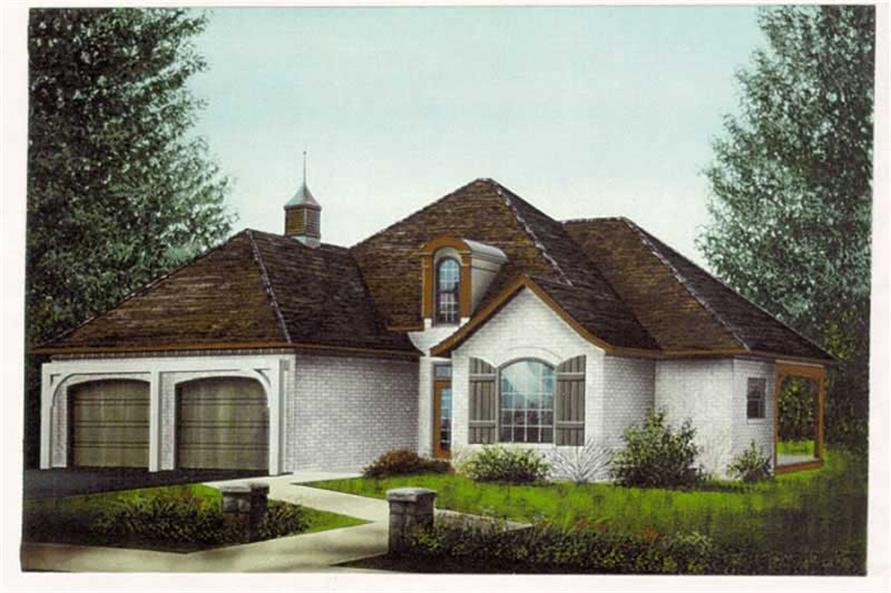 Front elevation of French home (ThePlanCollection: House Plan #113-1057)