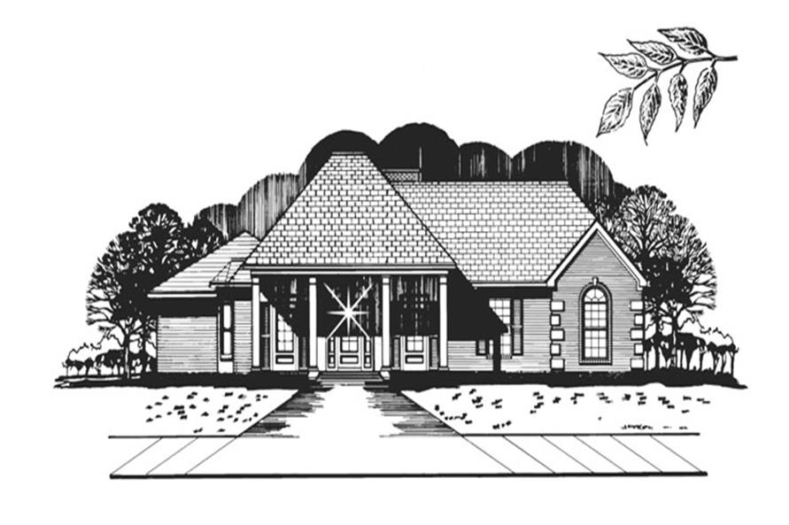 Front elevation of Colonial home (ThePlanCollection: House Plan #113-1058)