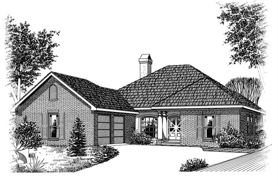 Front elevation of Ranch home (ThePlanCollection: House Plan #113-1063)
