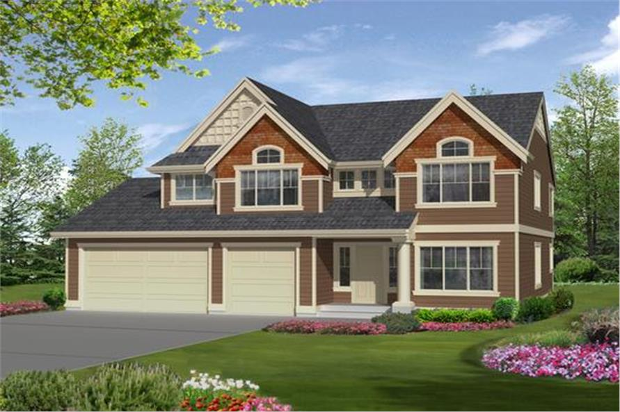 Front elevation of Craftsman home (ThePlanCollection: House Plan #115-1350)