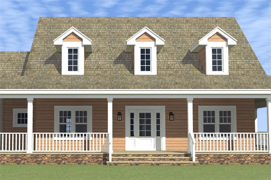 Color rendering of Country home plan (ThePlanCollection: House Plan #116-1001)