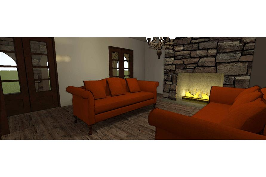 116-1010: Home Plan 3D Image-Living Room