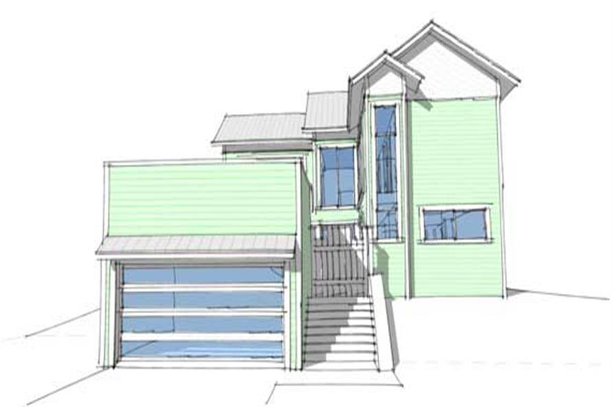 This is a 3D image of these Classic Beachfront Homeplans.