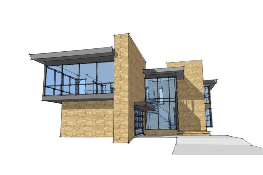 This is a 3D computer rendering of these Modern House Plans.