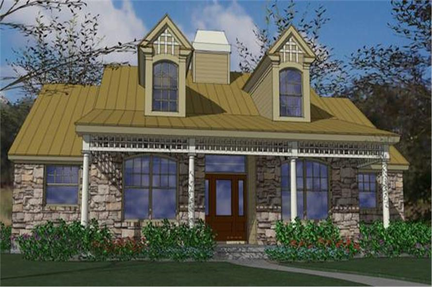Color rendering of Texas Style home plan (ThePlanCollection: House Plan #117-1008)