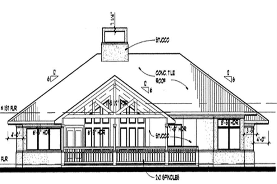 117-1012: Home Plan Rear Elevation