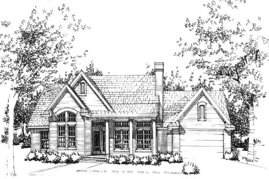Front elevation of Ranch home (ThePlanCollection: House Plan #117-1013)