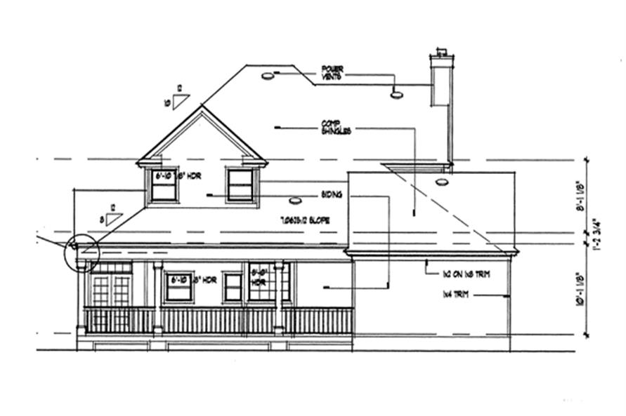 117-1030: Home Plan Rear Elevation