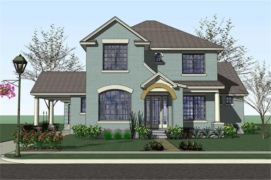 Front elevation of Traditional home (ThePlanCollection: House Plan #117-1051)
