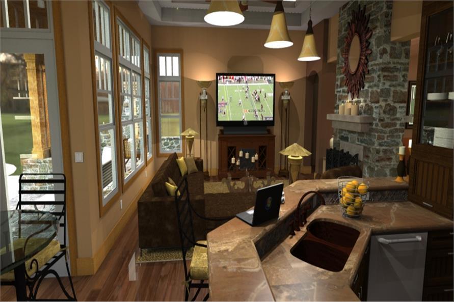 117-1092: Home Plan Rendering-Living Room