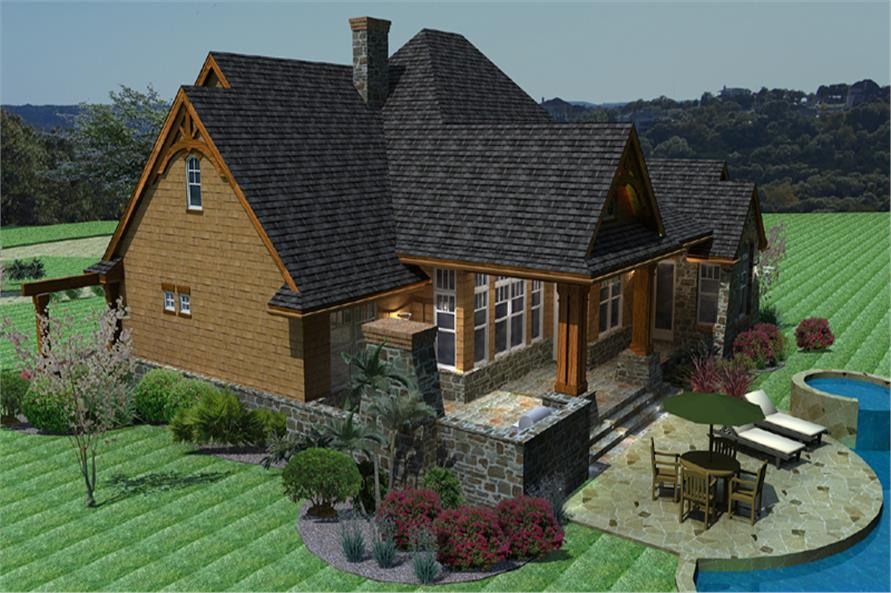 117-1092 house plan right elevation
