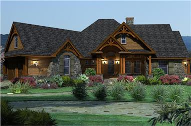 3D color rendering of Ranch home plan (ThePlanCollection: House Plan #117-1092)