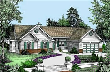 3-Bedroom, 1588 Sq Ft Ranch House Plan - 119-1025 - Front Exterior
