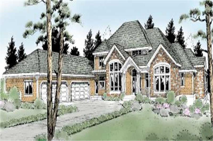 Luxury Homeplans DDI97-215 color front elevation.
