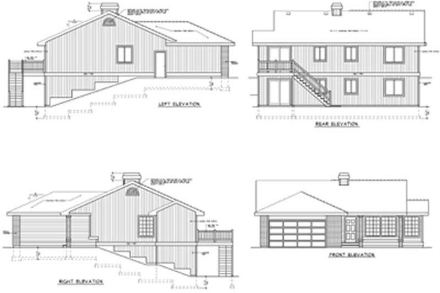 This image shows the rear elevation of the homes' exterior.