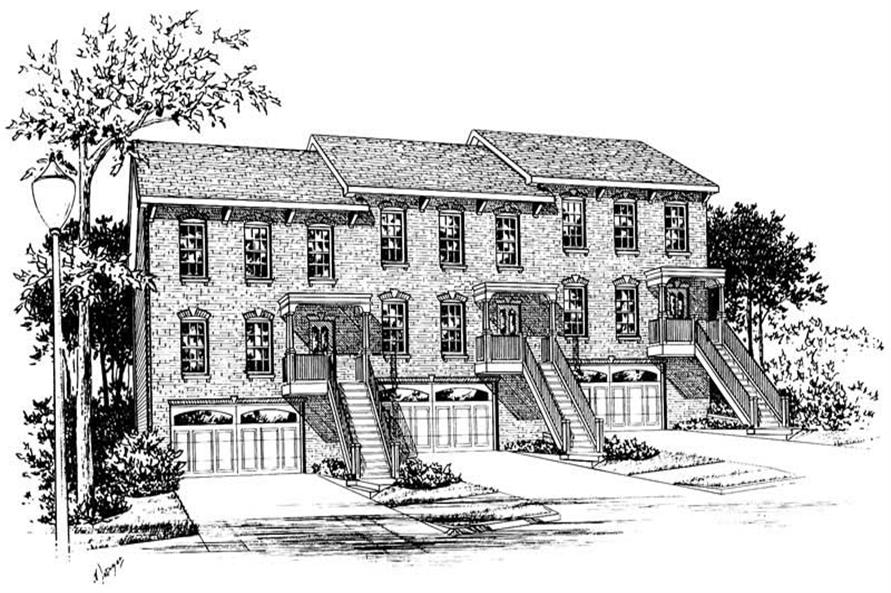 Front elevation of Multi-Unit home (ThePlanCollection: House Plan #120-1836)