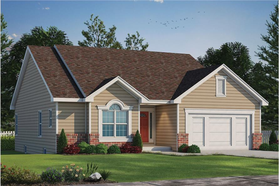 Color rendering of Ranch home plan (ThePlanCollection: House Plan #120-1851)