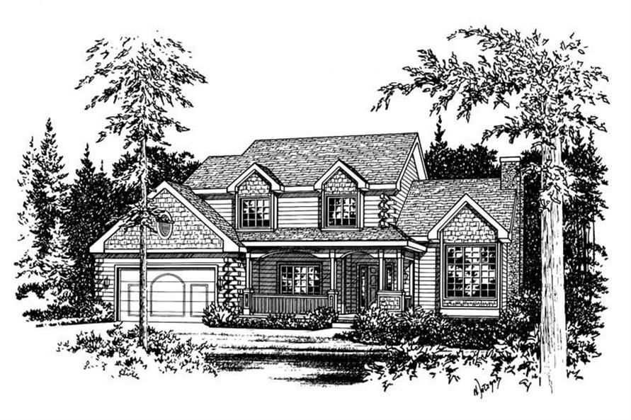 Front elevation of Log Cabin home (ThePlanCollection: House Plan #120-1853)