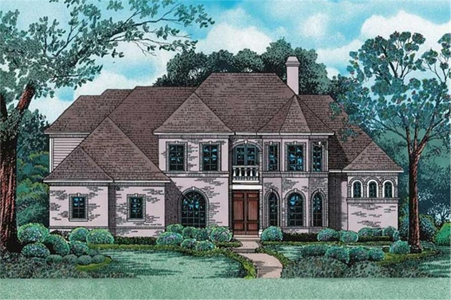 120-1942 house plan front rendering