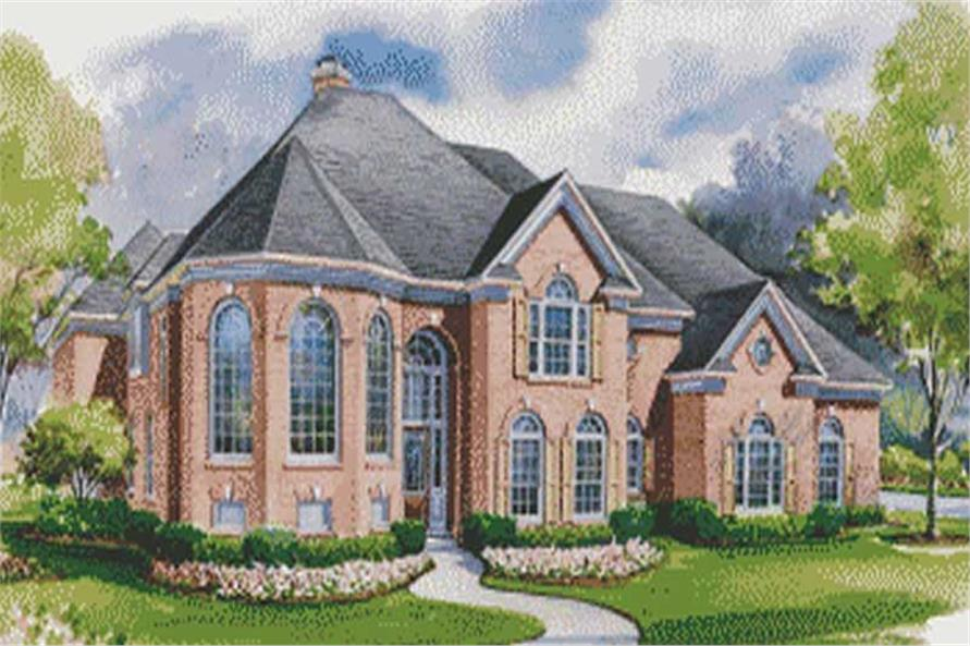 This image shows the front elevation of these European House Plans, French Plans, 1-1/2 Story House Plans,Home Plans.