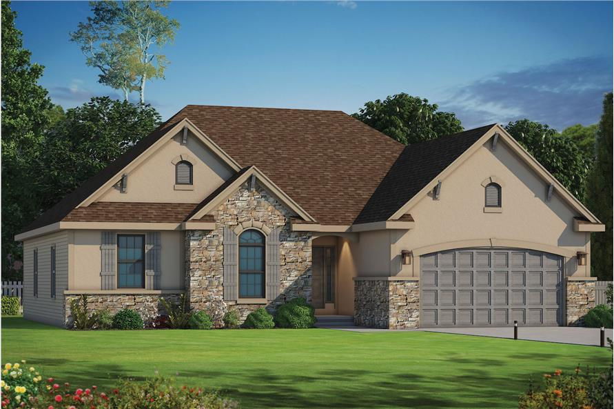 Front elevation of Ranch home plan (ThePlanCollection: House Plan #120-2105)