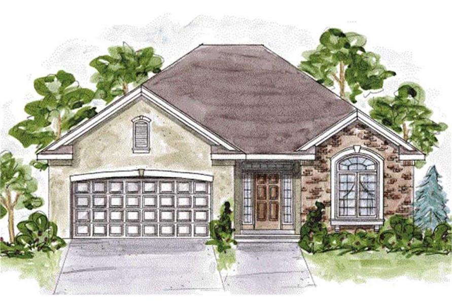 120-2107 house plan front rendering