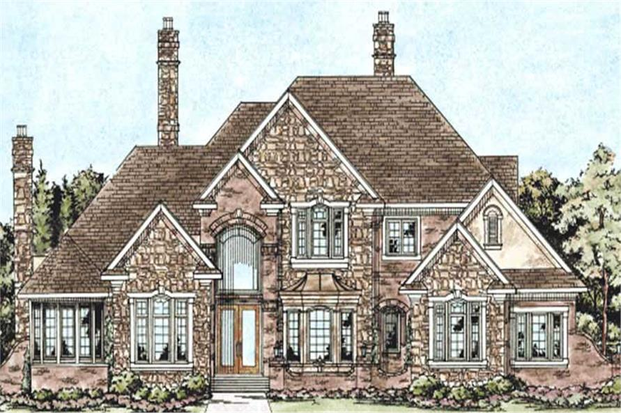 This image shows the front elevation of these Luxury House Plans, European House Plans, Traditional House Plans, 1-1/2 Story House plans.