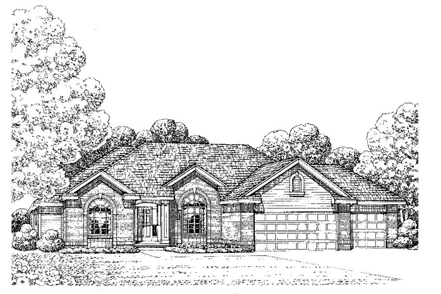 Front Elevation of this Traditional House (#120-2243) at The Plan Collection.