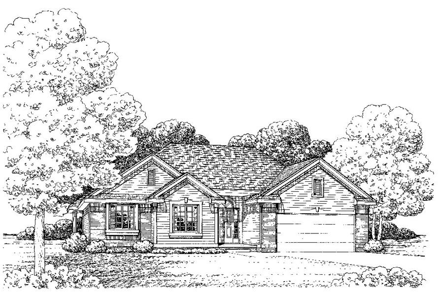 Front Elevation of this Traditional House (#120-2245) at The Plan Collection.