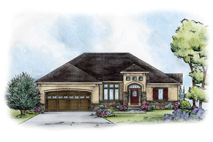 Front Elevation of this Tuscan House (#120-2248) at The Plan Collection.