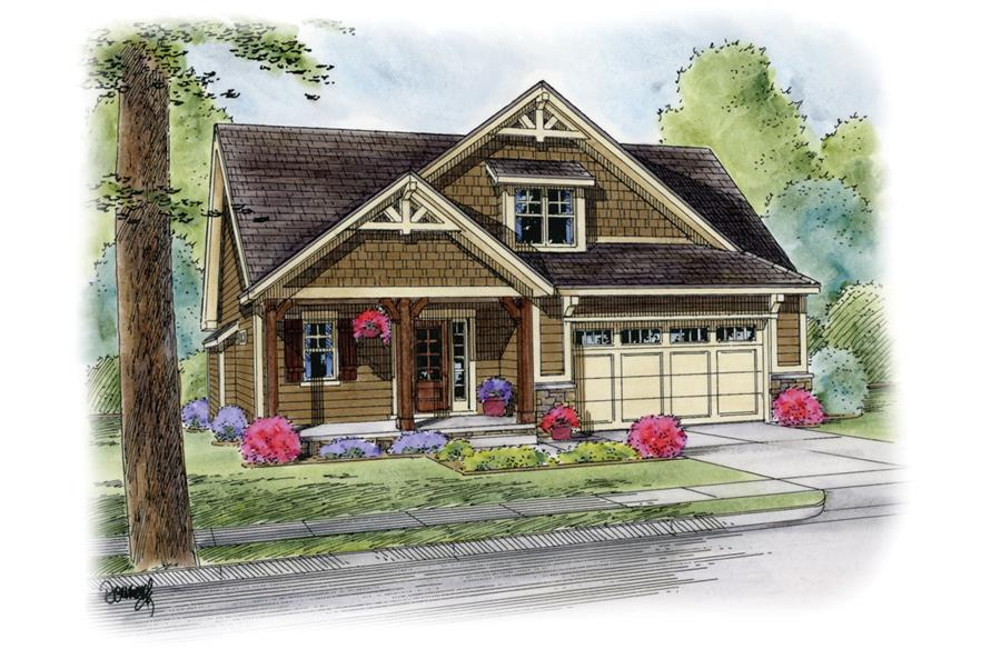 Front Elevation of this Craftsman House (#120-2260) at The Plan Collection.