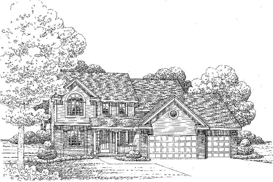 Front Elevation of this Traditional House (#120-2265) at The Plan Collection.