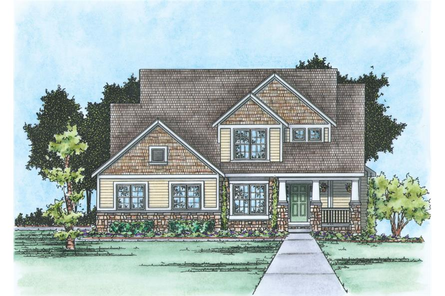Front Elevation of this Craftsman House (#120-2271) at The Plan Collection.