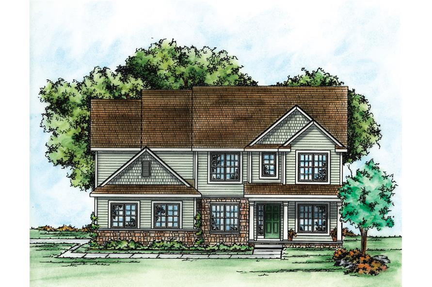 Front Elevation of this Traditional House (#120-2272) at The Plan Collection.