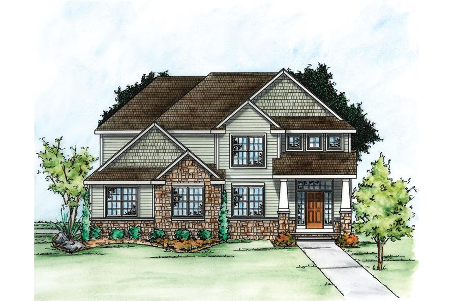 Front Elevation of this Craftsman House (#120-2275) at The Plan Collection.