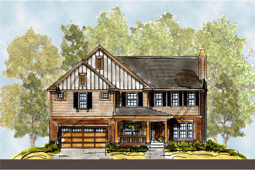 Front Elevation of this Craftsman House (#120-2290) at The Plan Collection.