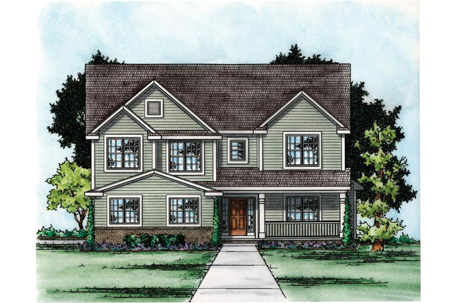 Front Elevation of this Traditional House (#120-2304) at The Plan Collection.