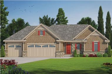 Color rendering of Ranch home plan (ThePlanCollection: House Plan #120-2532)
