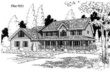 4-Bedroom, 2611 Sq Ft Home Plan - 121-1055 - Main Exterior