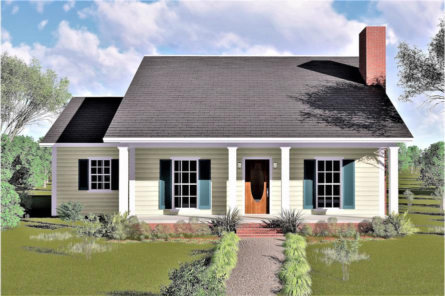 Color rendering of Country home plan (ThePlanCollection: House Plan #123-1019)