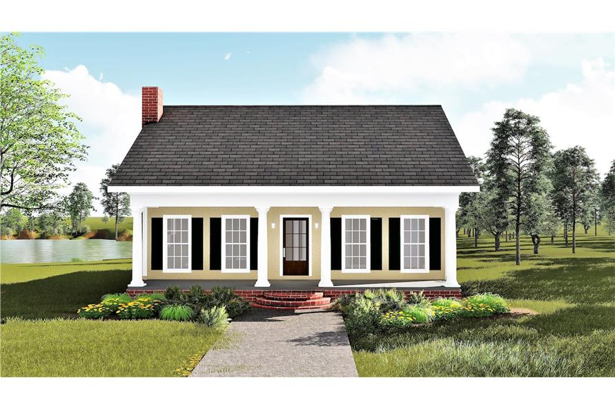 123-1020: Home Plan Front Elevation