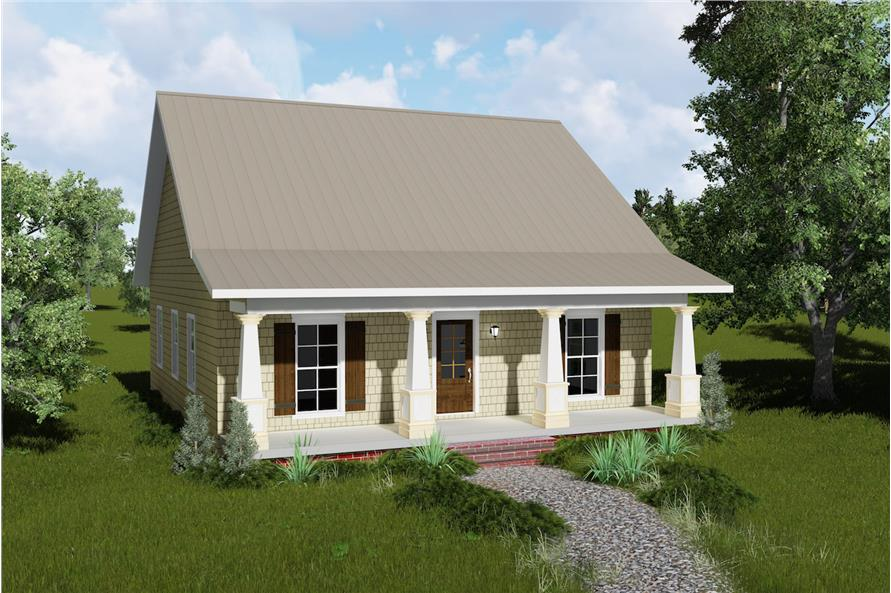 Color rendering of Country home plan (ThePlanCollection: House Plan #123-1045)