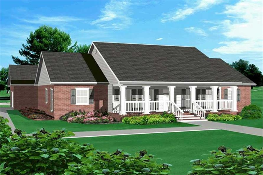 Home Plan Rendering for country house plans # DH 2214