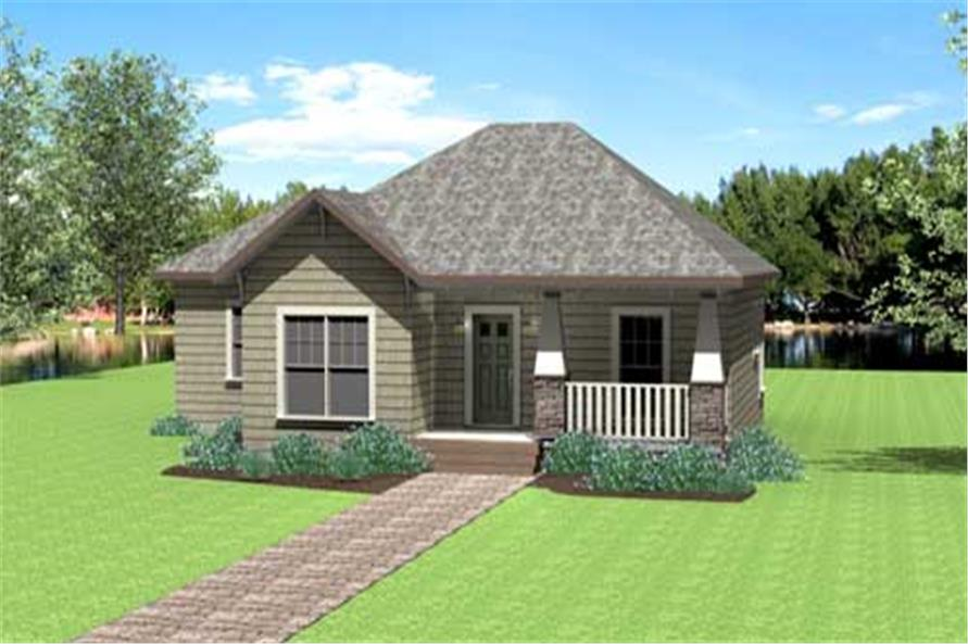 This image shows the front elevation for these country home plans.